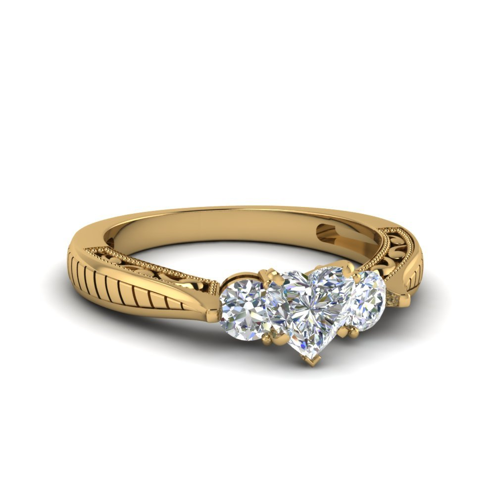 1 Ct. Diamond Vintage Heart Shaped 3 Stone Engagement Ring In 14K Yellow Gold