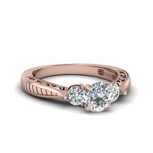 1 Ct. Diamond Vintage Round Cut 3 Stone Engagement Ring In 18K Rose Gold