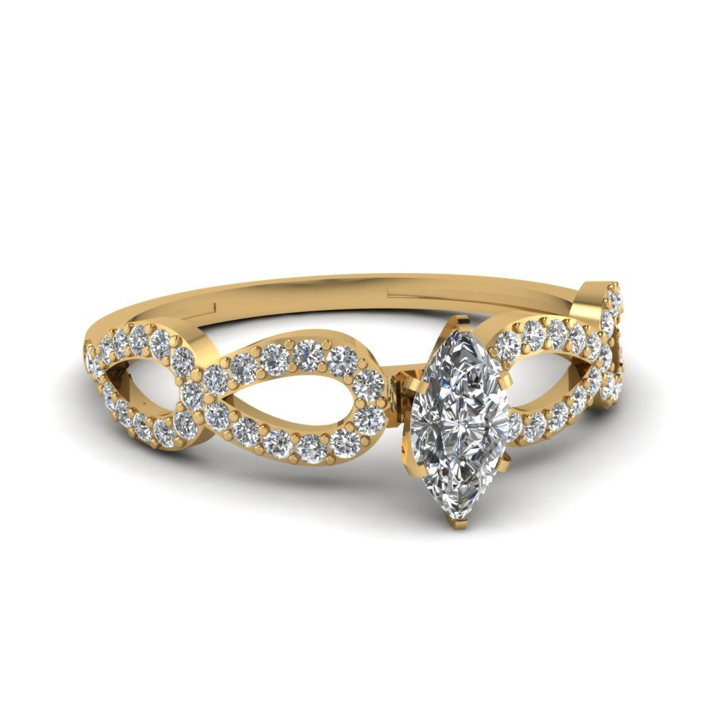 1 Ct. Marquise Diamond Loop Engagement Ring In 18K Yellow Gold