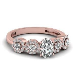 1 Ct. Oval Diamond Halo Accent Engagement Ring In 14K Rose Gold