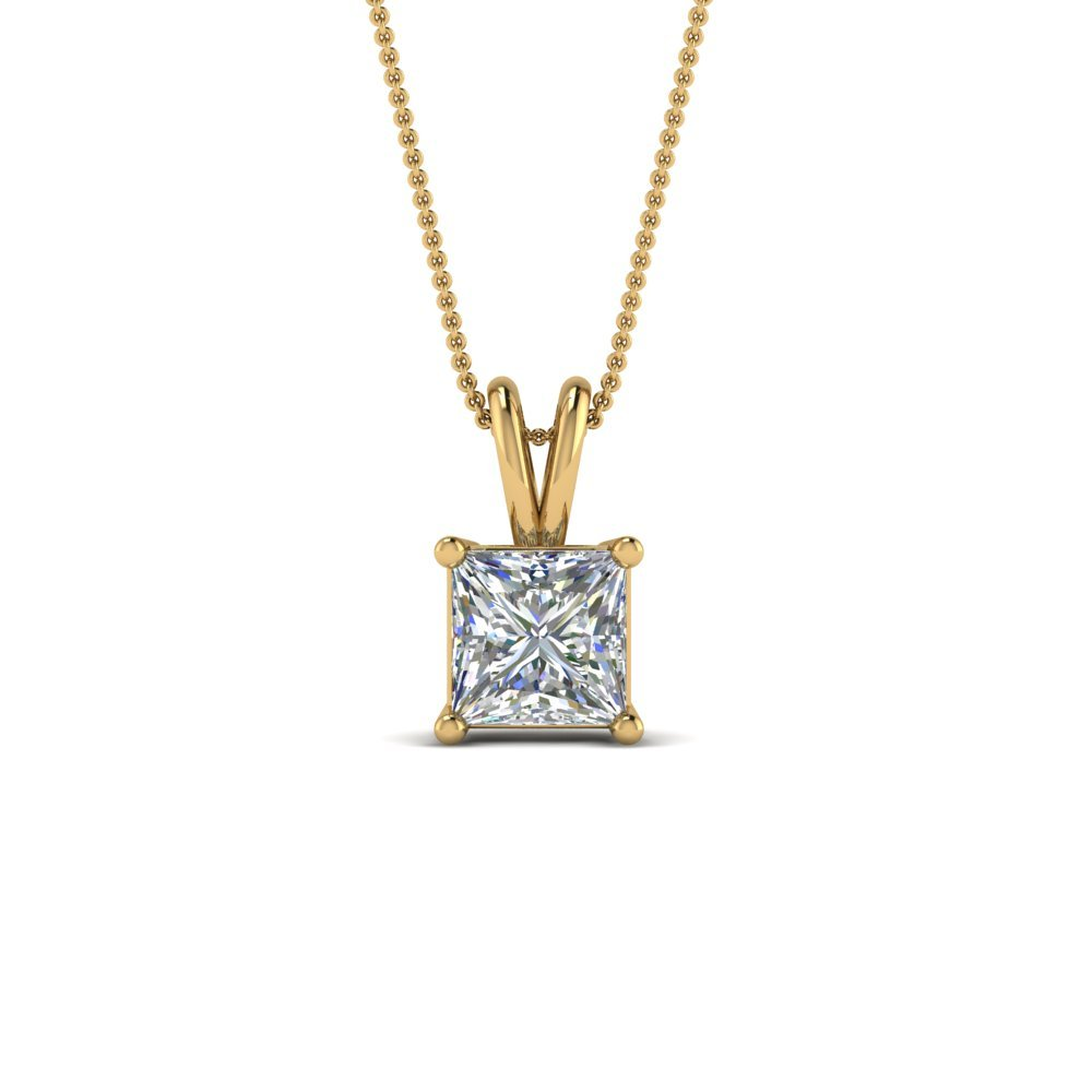 1 Ct. Princess Cut Diamond Necklace In 14K Yellow Gold