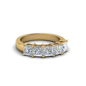 1 Ct. Princess Cut Five Stone Band