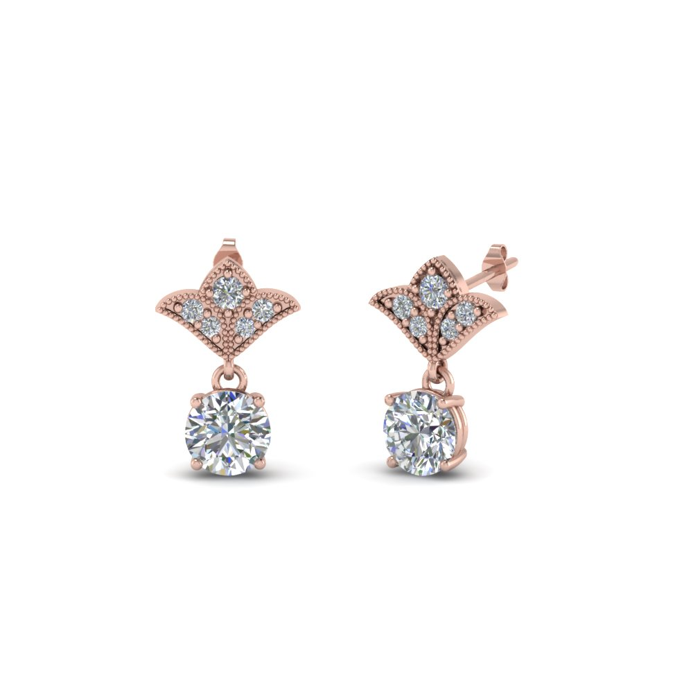 1 Ct. Round Art Deco Design Earring In 14K Rose Gold