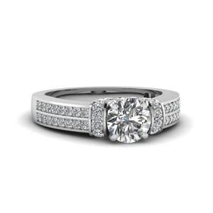 1 Ct. Round Diamond Pave 2 Row Engagement Ring In 14K White Gold