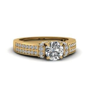 1 Ct. Round Diamond Pave 2 Row Engagement Ring In 18K Yellow Gold