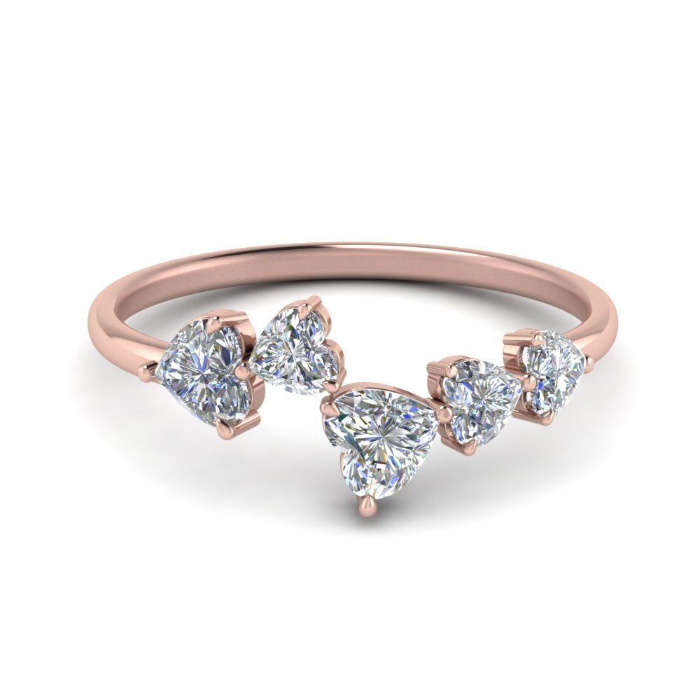 1.10 Ct. Heart Cut 5 Stone Diamond Anniversary Ring In 14K Rose Gold
