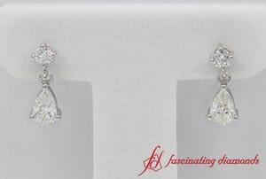 Pear Drop Diamond White Gold Earring