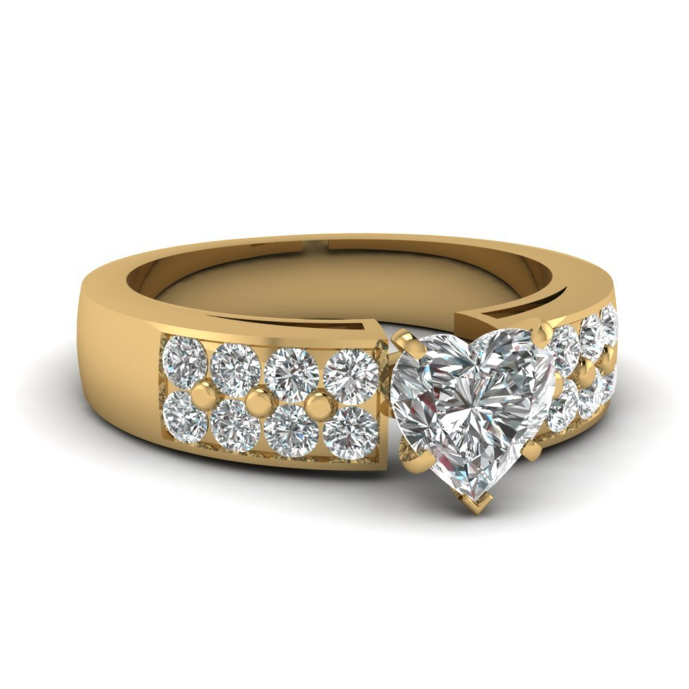 1.25 Carat Heart Diamond Wide Accent Ring