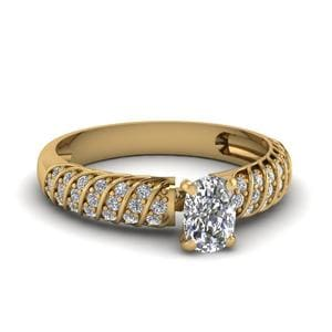 1.25 Ct. Cushion Rope Style Diamond Ring