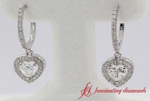 1.39 Ct. Heart Halo Drop Diamond Dangle Earring In 18k White Gold