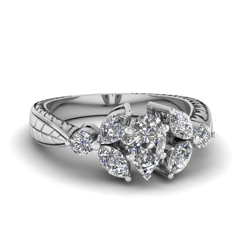 1.5 Carat Pear Diamond Petal Ring