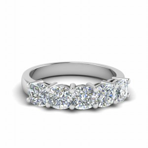 18K White Gold Five Stone Band