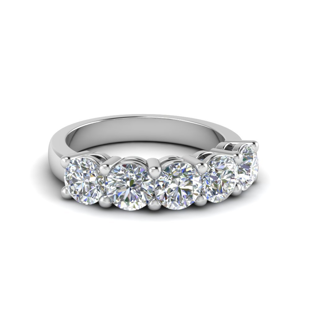 14K White Gold 5 Stone Ring