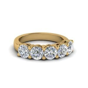 1.5 Ct. Diamond 5 Stone Wedding Ring In 14K Yellow Gold