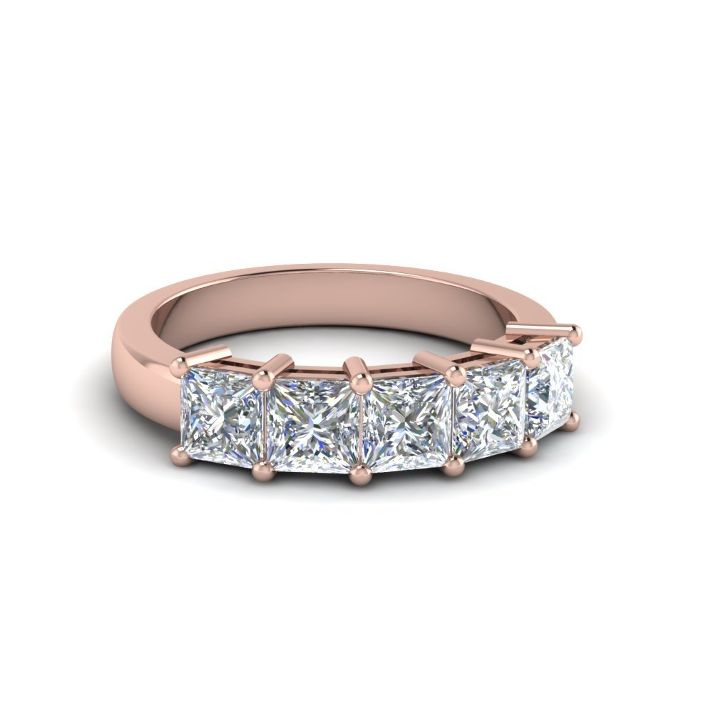 18K Rose Gold 5 Stone  Band