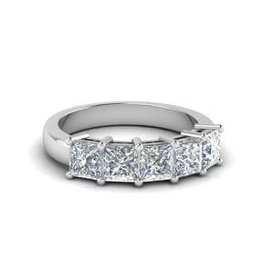 Platinum Princess Cut 5 Stone Band
