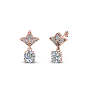 Round Vintage Look Diamond Earring