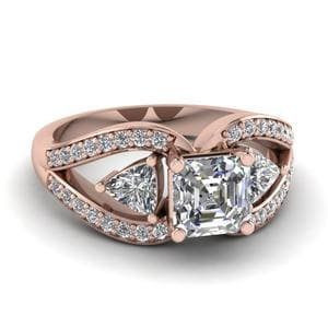 1.50 Carat Asscher Diamond Butterfly Engagement Ring In 18K Rose Gold