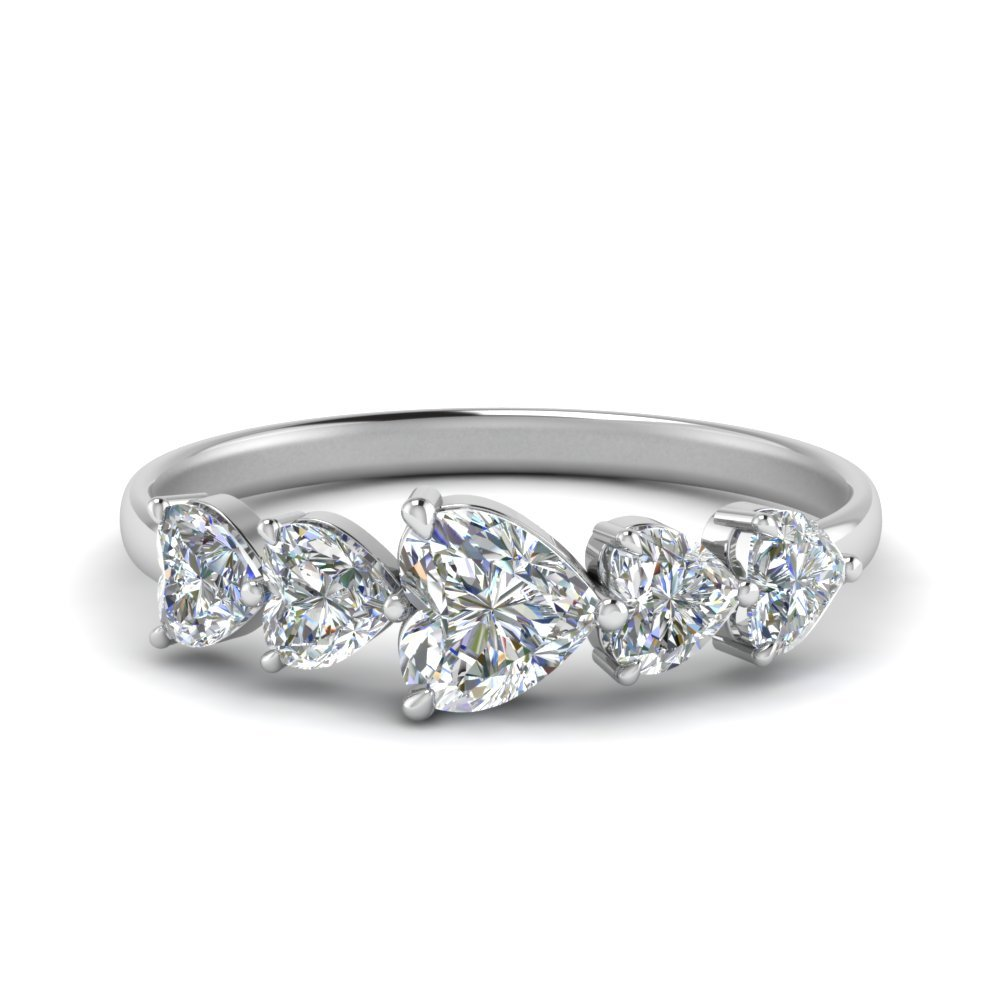 White Gold Heart Diamond Wedding Band