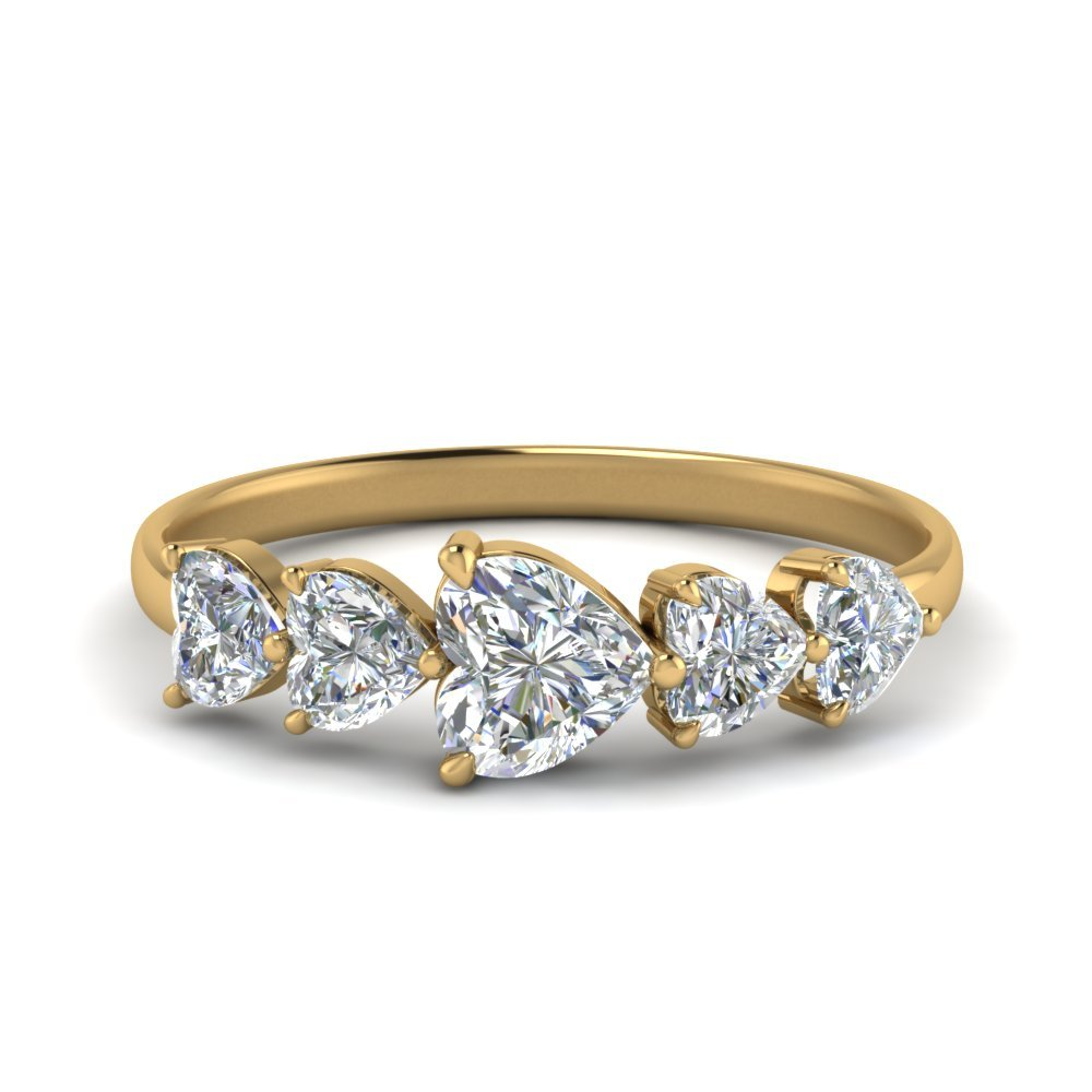 1.50 Carat Five Stone Heart Diamond Eternity Wedding Ring In 18K Yellow Gold