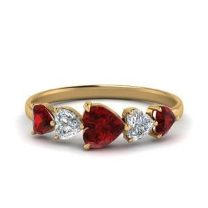 Gold Ruby 1.50 Carat Five Stone Band