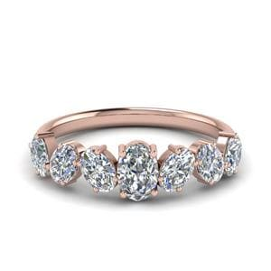 1.50 Ct. Oval Shaped 7 Stone Anniversary Ring In 18K Rose Gold