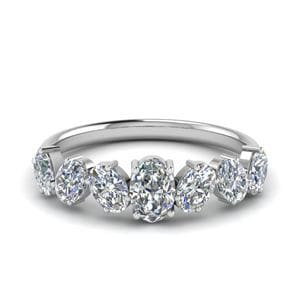 1.50 Ct. Oval Shaped 7 Stone Anniversary Ring In 14K White Gold
