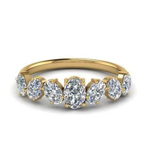 1.50 Ct. Oval Shaped 7 Stone Anniversary Ring In 14K Yellow Gold