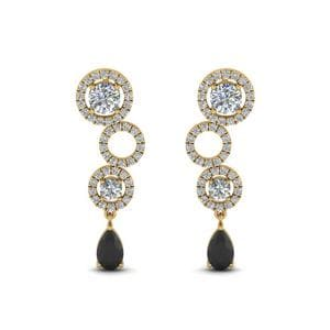 Diamond Circle Pear Drop Earring