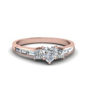 1.50 Ct. Diamond Baguette 3 Stone Heart Shaped Engagement Ring In 14K Rose Gold