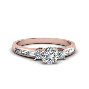 1.50 Ct. Diamond Baguette 3 Stone Round Cut Engagement Ring In 14K Rose Gold