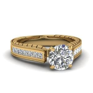 1.50 Ct. Diamond Cathedral Vintage Round Cut Engagement Ring In 14K Yellow Gold