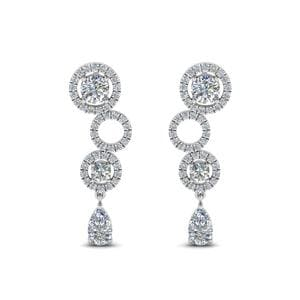 1.50 Ct. Diamond Circle Pear Drop Earring In 14K White Gold