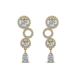 1.50 Ct. Diamond Circle Pear Drop Earring