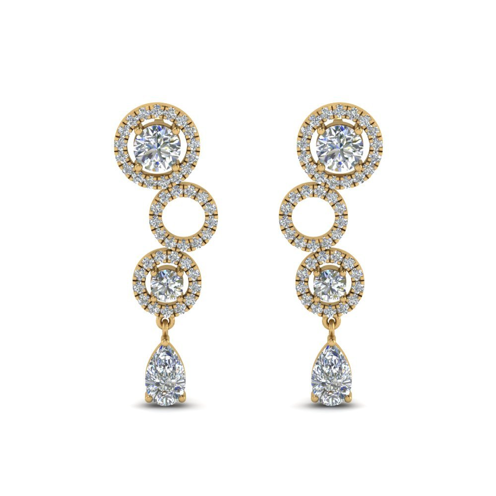 1.50 Ct. Diamond Circle Pear Drop Earring In 14K Yellow Gold