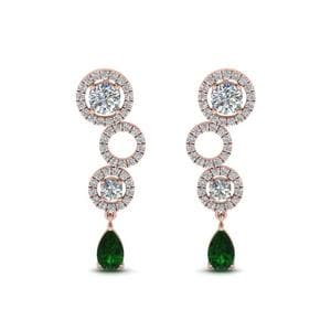 Diamond Circle Emerald Drop Earring