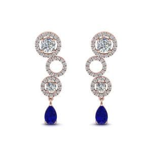 Rose Gold Sapphire Pear Drop Earring