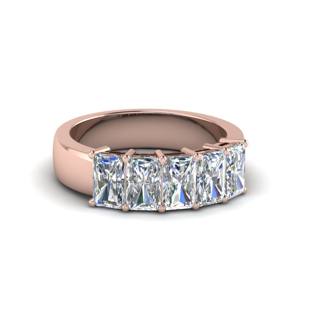 1.50 Ct. Diamond Radiant Wedding Band 5 Stone In 14K Rose Gold