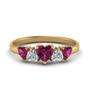 Heart Diamond Band With Pink Sapphire