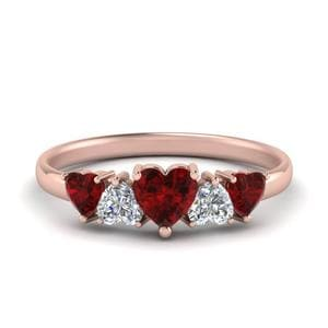 Ruby Rose Gold Heart Diamond Band