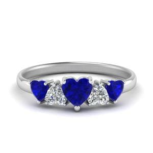 Five Stone Heart Sapphire Band