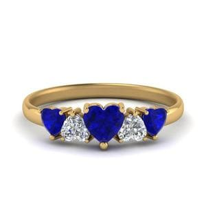 Gold Sapphire Five Stone Heart Band
