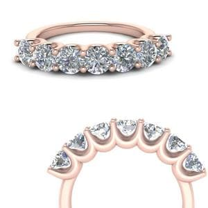 1.50 Ct. Round Diamond Delicate 7 Stone Anniversary Ring In 14K Rose Gold