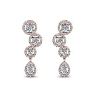 1.60 Carat Diamond Halo Teardrop Earring In 14K Rose Gold