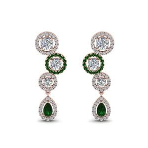 18K Rose Gold Emerald Halo Teardrop Earring