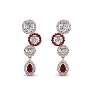 1.60 Carat Halo Teardrop Earring