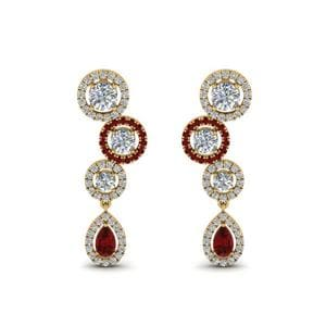 14K Yellow Gold Ruby Halo Teardrop Earring
