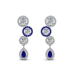 14K White Gold Sapphire Halo Earring