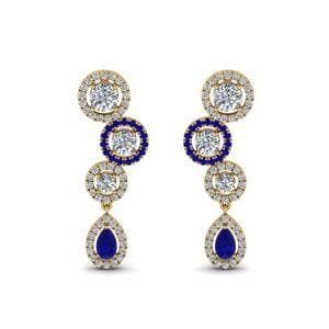 18K Yellow Gold Sapphire Halo Teardrop Earring