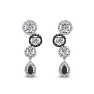 18K White Gold Black Diamond Earring